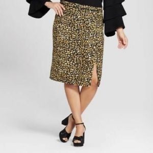 Who What Wear Leopard Cheetah Pencil Midi Skirt